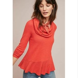 Maeve Anthropologie Winterscape Peplum Top